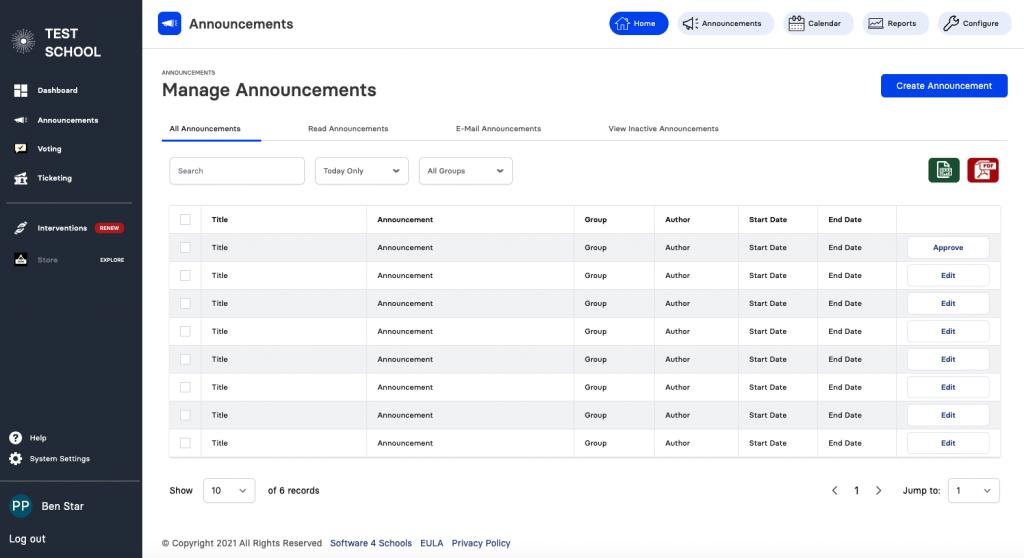 announcements list