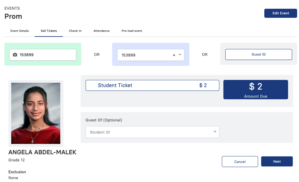 sell ticket with guest option