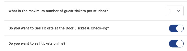 Ticket and Check In Settings